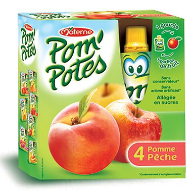 Specialitate frantuzeasca Pom'Potes de mere si piersici x 4 buc