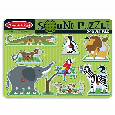 Puzzle de lemn cu sunete Animale de la Zoo de la Melissa&Doug