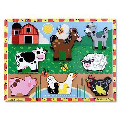 Puzzle lemn in relief Animale de ferma de la Melissa&Doug