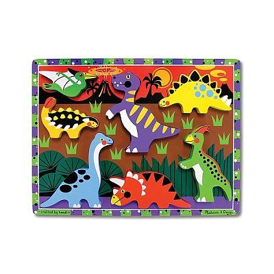 Puzzle lemn in relief Dinozauri de la Melissa&Doug