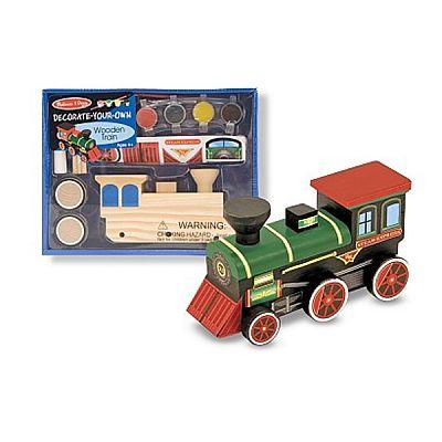 Trenulet din lemn de asamblat si pictat de la Melissa&Doug