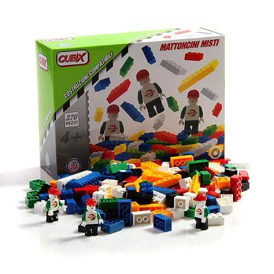 Cubix Constructii: Cuburi mixte si 3 personaje, 370 buc, 4ani+