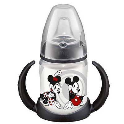 DISNEY Mickey Mouse Biberon PP 150 ml cu 2 toarte si adaptor din silicon, + 6 luni