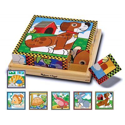 Melissa&Doug Puzzle lemn din cuburi Animalele de casa