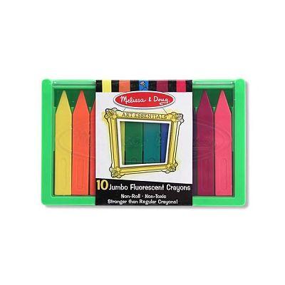 Melissa&Doug Set 10 creioane colorate groase trunghiulare in culori fluorescente