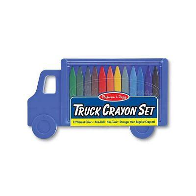 Set 12 creioane colorate triunghiulare Truck de la Melissa&Doug