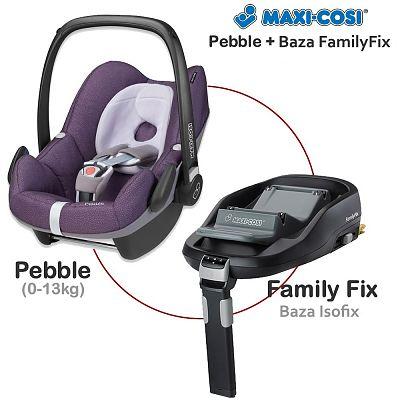Fotoliu auto Pebble 0-13 Kg + Baza Isofix FamilyFix de la MAXI-COSI