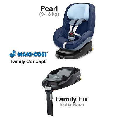 Fotoliu auto Pearl 9-18 Kg + Baza Isofix FamilyFix
