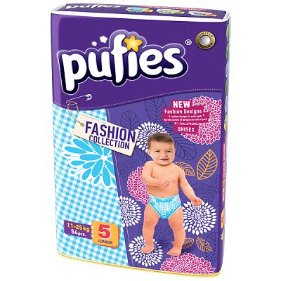 Scutece Pufies Junior Fashion Collection nr.5; 11-25 kg  (jumbo pack) 54 buc