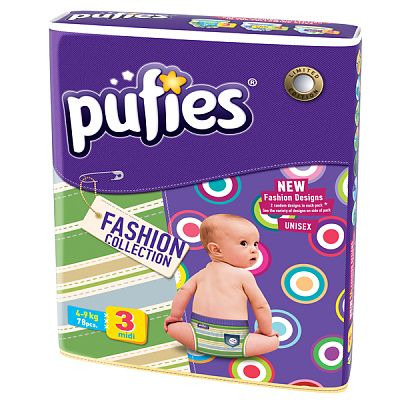 Scutece Pufies midi Fashion Collection nr.3; 4-9 kg (jumbo pack) 78 buc