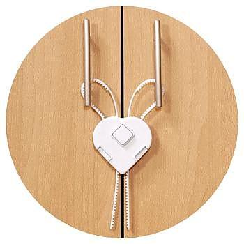 Siguranta cu brate flexibile pentru dulapuri, plastic alb
