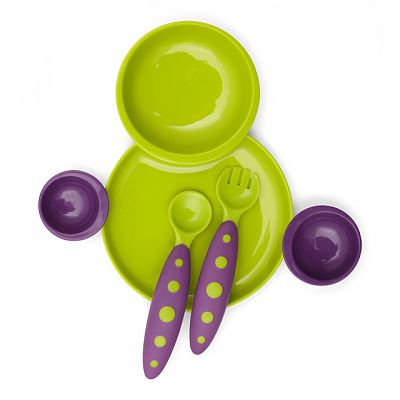 Set farfurie compartimentata si tacamuri Groovy si Modware, Green/Purple de la boon