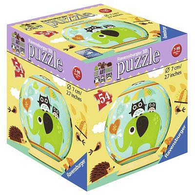 Ravensburger Puzzle 3D Bufnita si Elefant, 54 piese