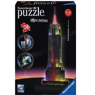 Ravensburger Puzzle 3D  Empire State Building - Lumineaza Noaptea , 216 Piese