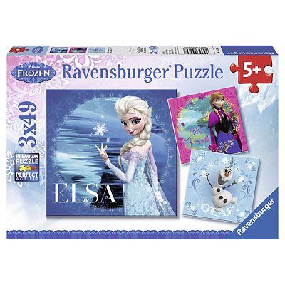 Puzzle Frozen ELSA, AMMA, OLAF, 3x49 piese de la Ravensburger