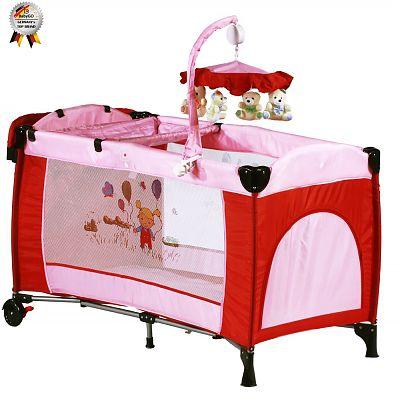 Patut pliant cu 2 nivele si mini-carusel Sleeper Deluxe roz