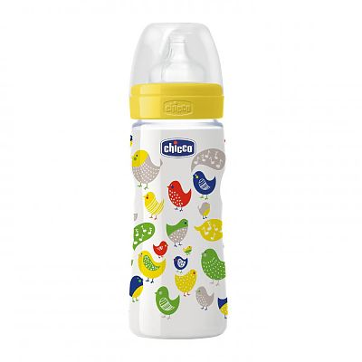 Biberon Chicco Well Being PP, ironic, 330ml, t.s., flux rapid, 4luni+, 0%BPA