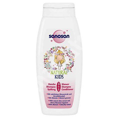 Sanosan NATURAL KIDS Sampon, Balsam si gel de dus 3in1 pentru fetite, 250 ml