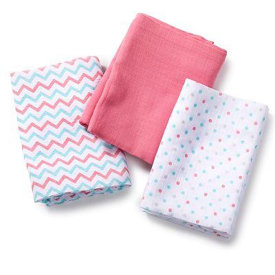 SwaddleMe - Set de 3 paturici de muselina roz/albastru