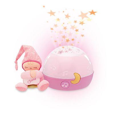 Jucarie lampa cu proiectie Primele Vise, Noapte buna, stelute!, Roz, 0luni+
