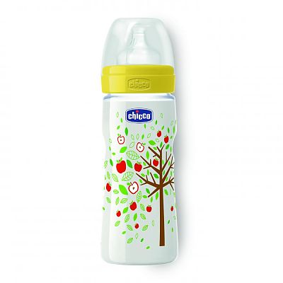 Chicco Biberon WellBeing PP, romantic, 330ml, t.s., flux rapid, 4+luni, 0%BPA