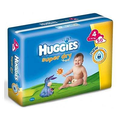 Huggies Scutece copii nr. 4 SuperDry, 7-14 kg, 50 bucati