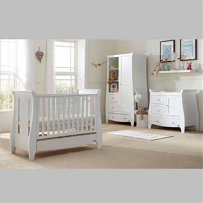 Tutti Bambini Set mobilier Katie White format din 3 piese: patut, comoda si dulap