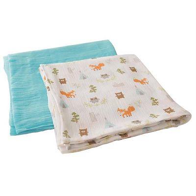 SUMMER Infant Set 2 paturici de muselina verde/imprimeu animalute