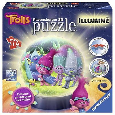 Puzzle 3D luminos, Trolls, 72pcs