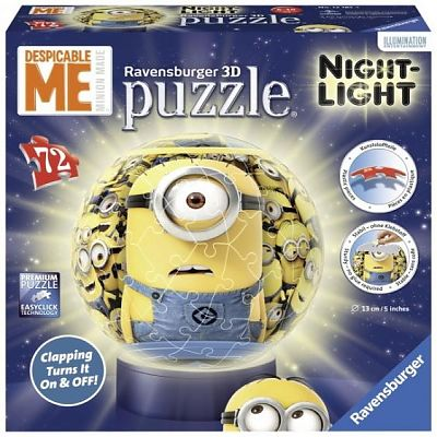 Puzzle 3D luminos, MINIONS, 72pcs