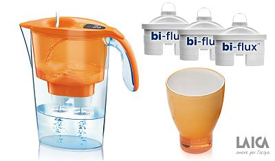 Laica Cana Laica Orange J31AC+ 3 filtre Bi-flux + pahar colorat