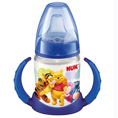 Nuk Disney Winnie the Pooh Biberon FC din PP 150 ml cu 2 toarte si adaptor din silicon (+ 6 luni)