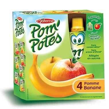 Pom'Potes Specialitate frantuzeasca Pom'Potes de mere si banane x 4 buc