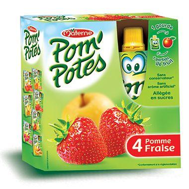 Pom'Potes Specialitate frantuzeasca Pom'Potes de mere si capsuni x 4 buc