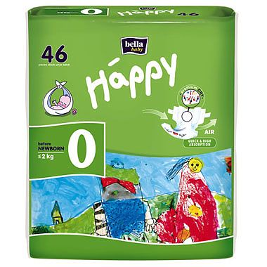 Happy Scutece Happy Before NewBorn < 2 Kg, 46 buc
