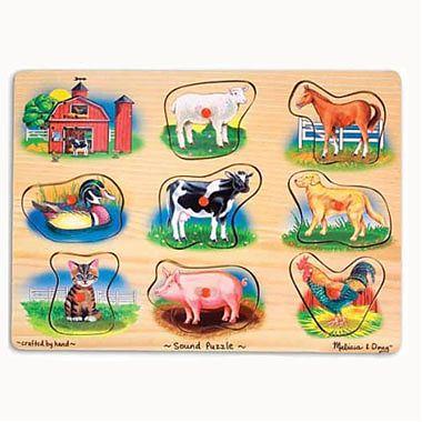 Melissa&Doug Puzzle lemn cu sunete Animale de la Ferma, natur