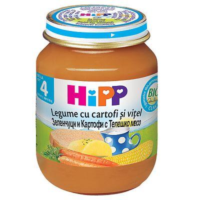 HIPP Meniu Vitel cu legume si cartofi, 125 gr