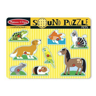 Melissa&Doug Puzzle de lemn cu sunete Animale de companie