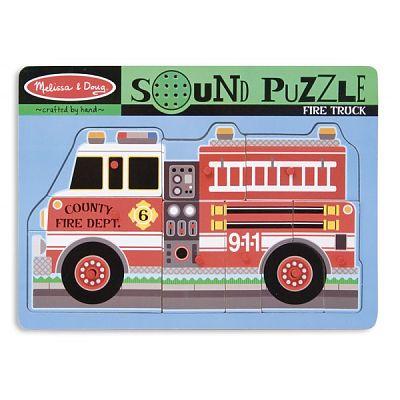 Melissa&Doug Puzzle de lemn cu sunete Masina de Pompieri