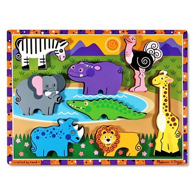 Melissa&Doug Puzzle lemn in relief Safari