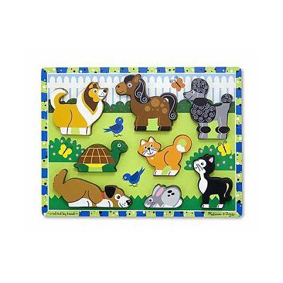 Melissa&Doug Puzzle lemn in relief Animale de companie