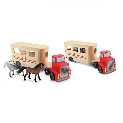 Melissa&Doug Camion Transportor de Cai cu Remorca