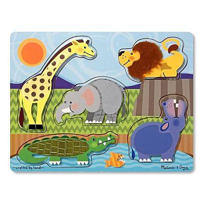 Melissa&Doug Puzzle de lemn Atinge si descopera - Animale Zoo