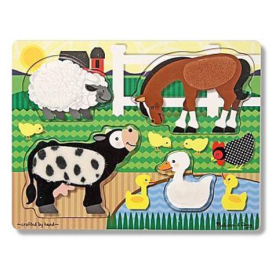 Melissa&Doug Puzzle de lemn Atinge si descopera - Animale de la ferma