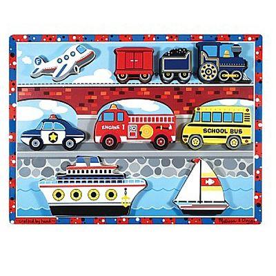 Melissa&Doug Puzzle lemn in relief Mijloace de transport