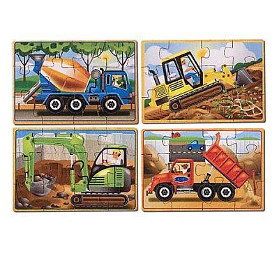 Melissa&Doug Set 4 puzzle lemn in cutie - Vehicule pentru constructii