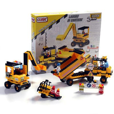 Cubix Constructii: Camion si excavator, 274 buc, 4ani+
