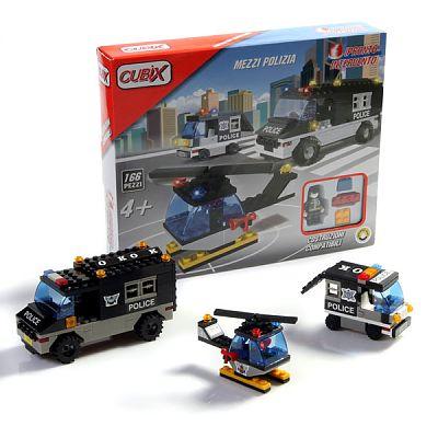 Cubix Interventii: Mijloace de transport Politie, 166 buc, 4ani+