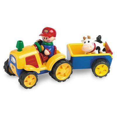 Tolo First Friends  Tractor  electronic cu remorca si vacuta First Friends