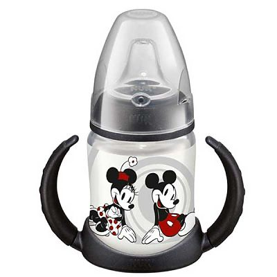 Nuk DISNEY Mickey Mouse Biberon PP 150 ml cu 2 toarte si adaptor din silicon, + 6 luni